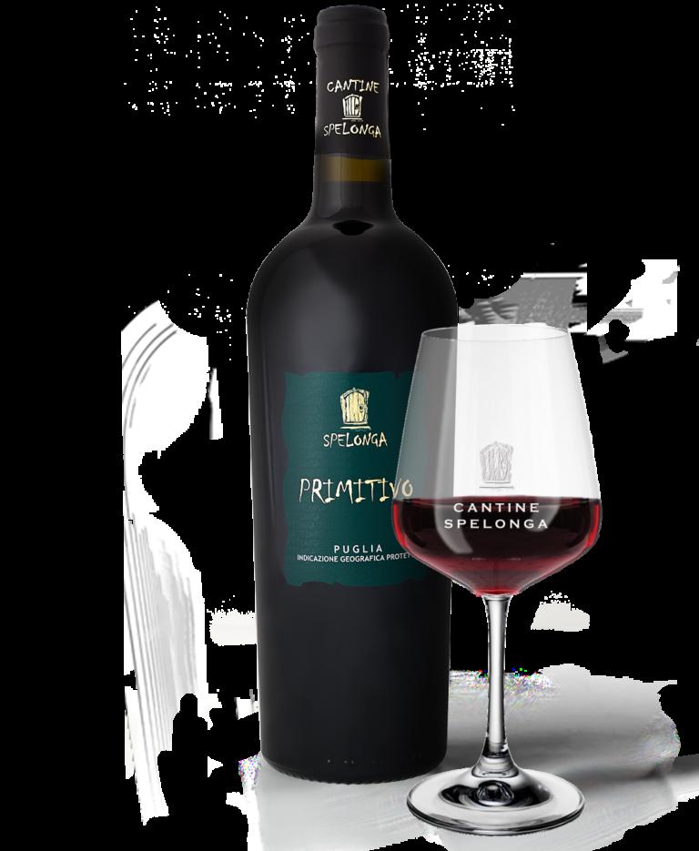 Bottiglia e calice di vino Primitivo di Cantine Spelonga