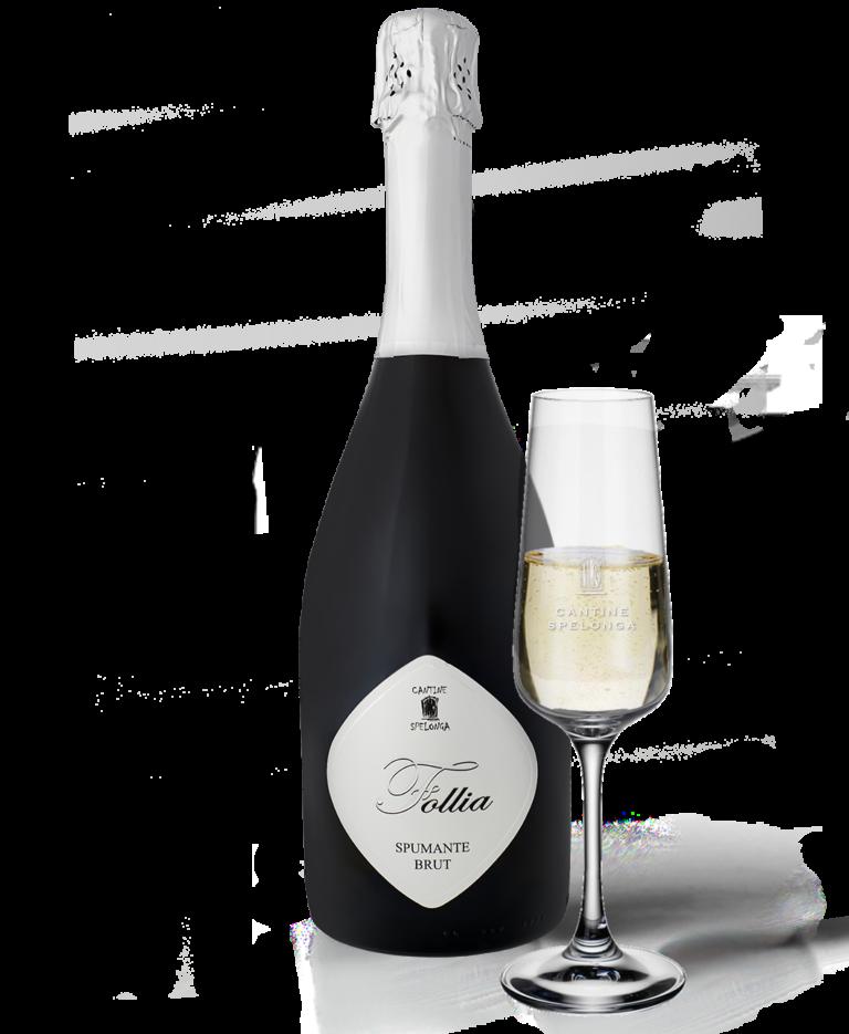 Bottiglia e calice flute di spumante brut di Cantine Spelonga
