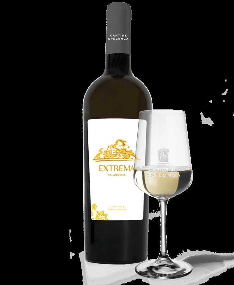 Bottiglia e calice di vino Extrema di Cantine Spelonga