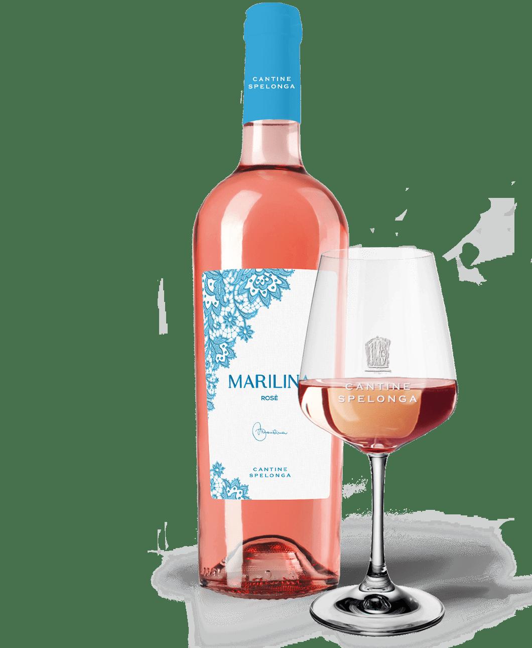 Bottiglia e calice di vino Marilina Rosè di Cantine Spelonga