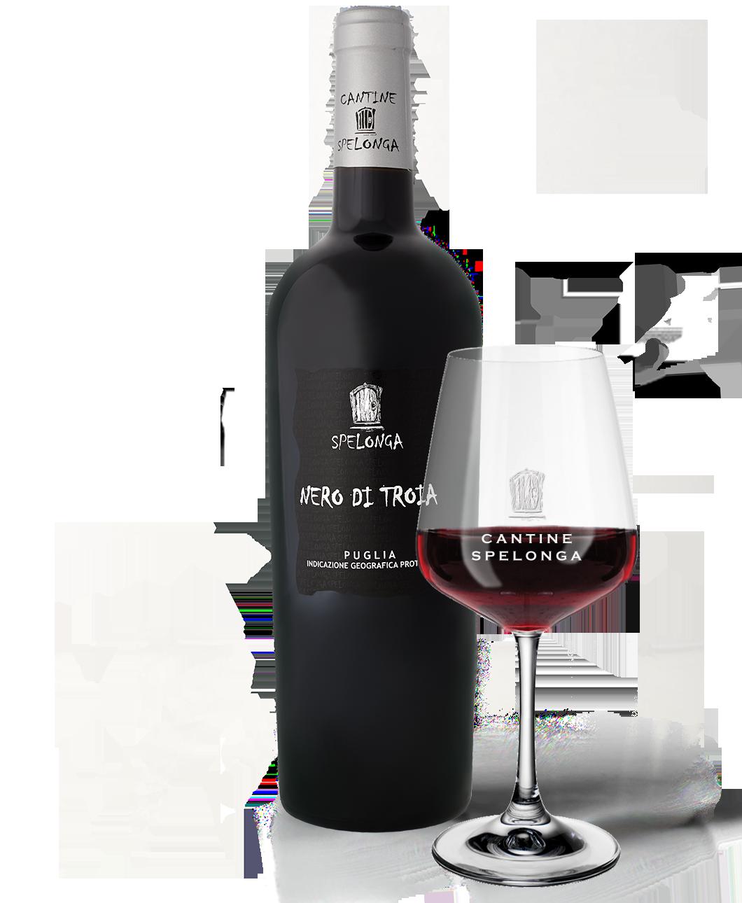 Bottiglia e calice di vino Nero di troia di Cantine Spelonga