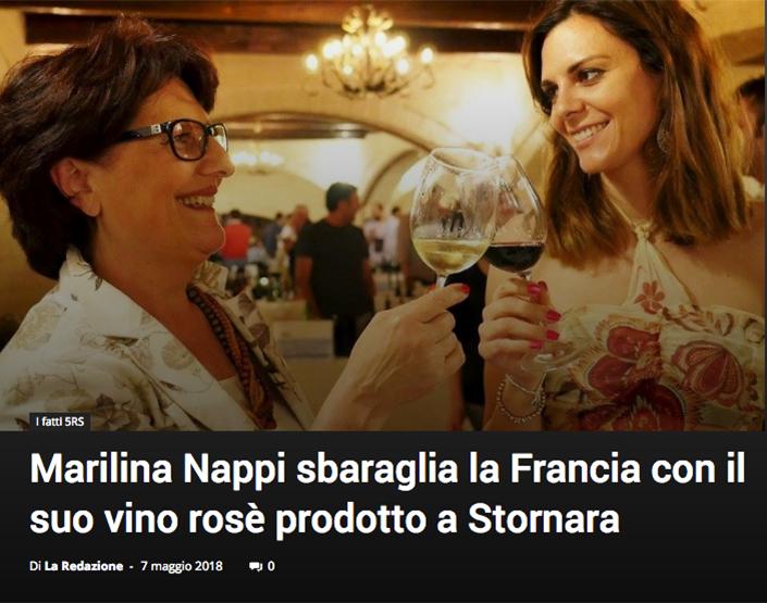 Articolo Marilina Nappi sbaraglia la Francia con il suo vino rosè prodotto a Stornara su Megafono.eu