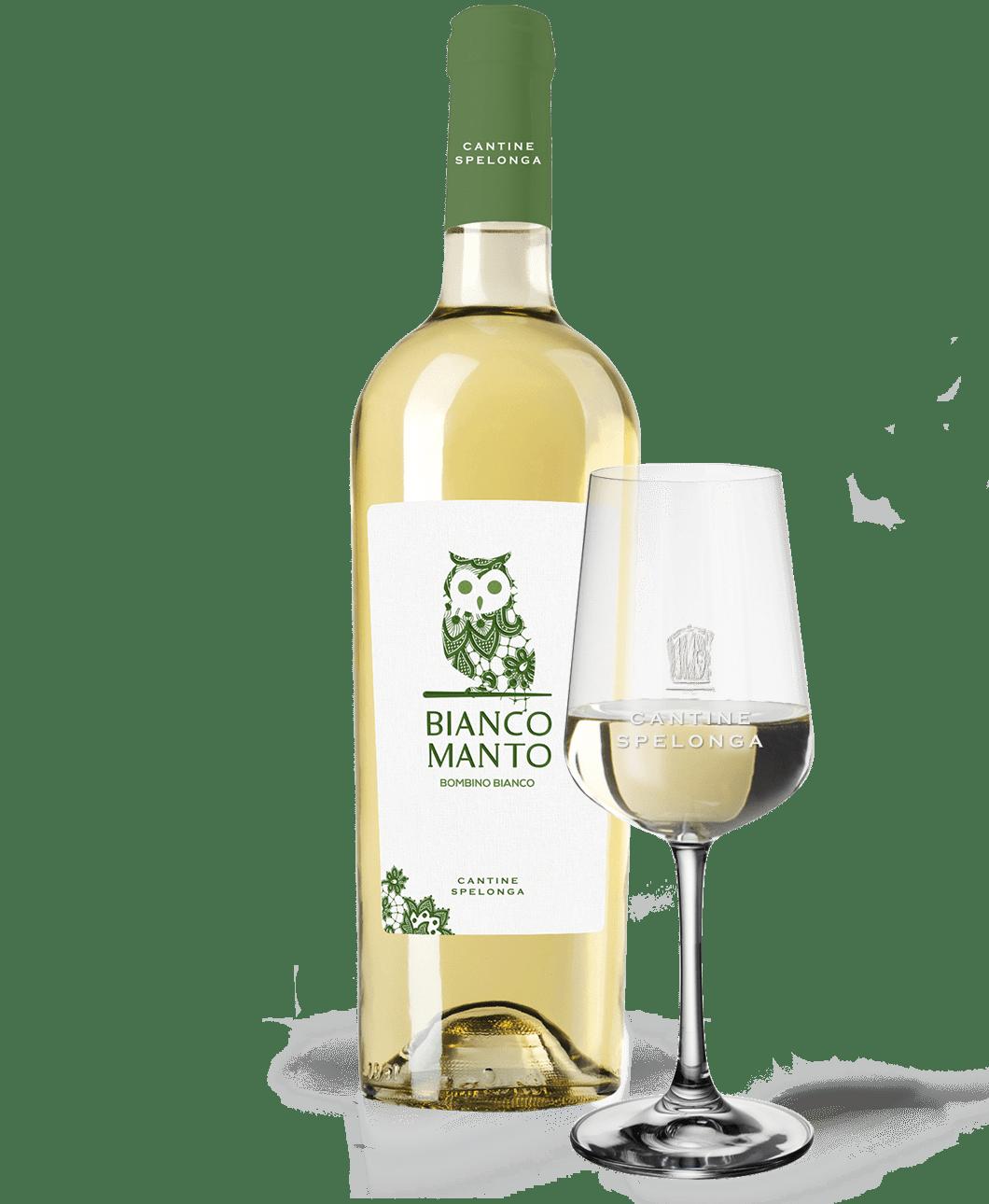 Bottiglia e calice di vino Biancomanto di Cantine Spelonga