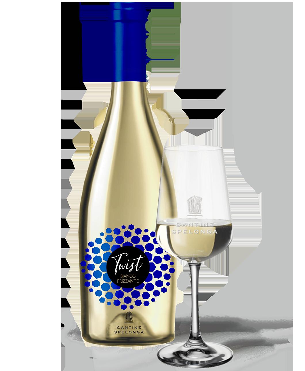 Bottiglia e calice di vino Twist bianco frizzante di Cantine Spelonga