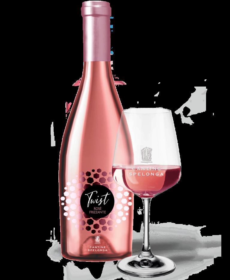 Bottiglia e calice di vino Twist rosè frizzante di Cantine Spelonga